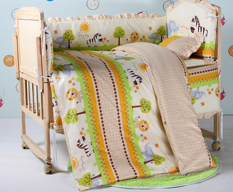 Promotion 7pcs 100 cotton baby bedding set unpick and wash the crib piece set bumper duvet