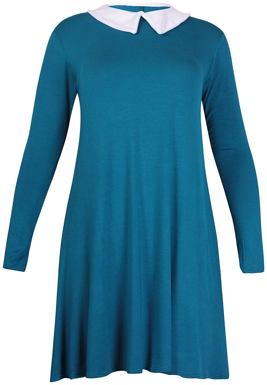 01a053c156c49 Purple Hanger Curvy PurpleHanger Women s Plus Size Contrast Collar Swing  Dress