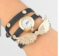 Popular Vogue Multilayer Leather Crystal Dial Bracelet Watch Retro Angel Wings Bangle Watch