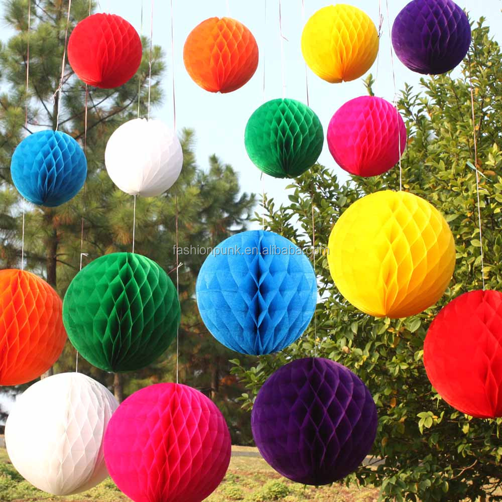 Round Paper Lanterns Tissue Paper Honeycomb Ball Wedding Home Party <strong>Decor</strong> 8""