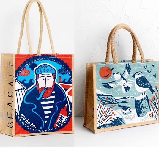 Promosyon çanta kullanımlık katlanabilir tuval jüt alışveriş torbaları