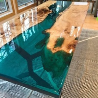 South American black walnut solid wood dining tables top blue transparent table a manger river epoxy resin table