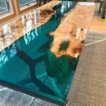 South American Black Walnut Solid Wood Dining Tables Top Blue Transparent  Table A Manger River Epoxy Resin Table - Buy Epoxy Resin Table,Resin