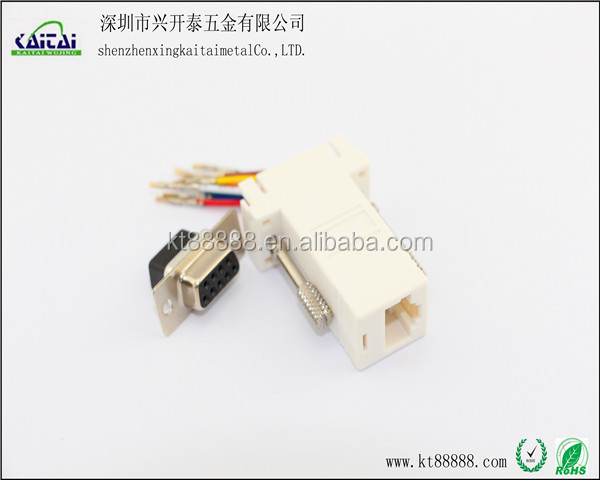 rj45 to DB9pin male cable adapter
