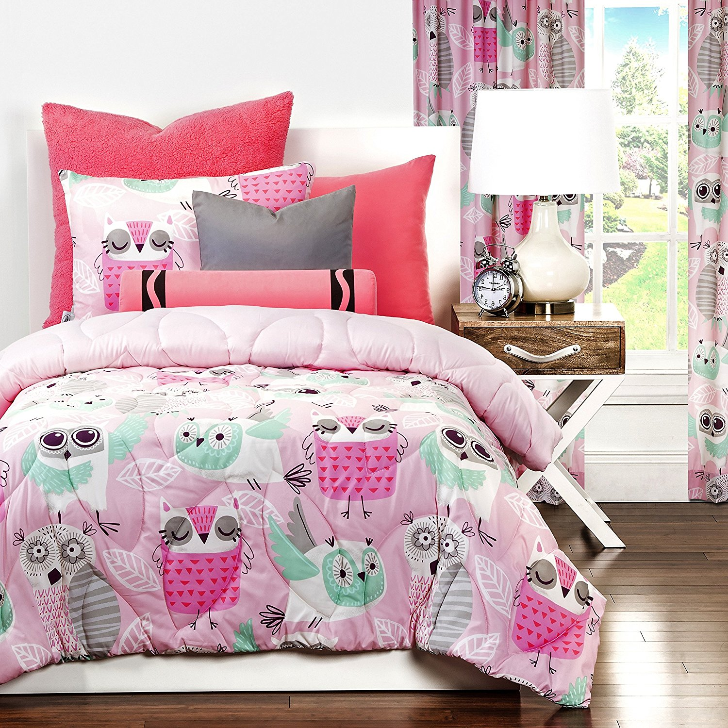 D&H 2 Piece Girls Rose Purple Aqua Blue Night Owl Comforter Twin Set, Multi Color Nature Themed Leaves Bird Animal Print Leaf Design, Cute Reversible Solid Pink Kids Bedding Teen Bedroom, Microfiber