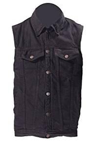 Mens Black Denim Vest with Gun Pockets (Size 5XL, 5X-Large, 60-62)