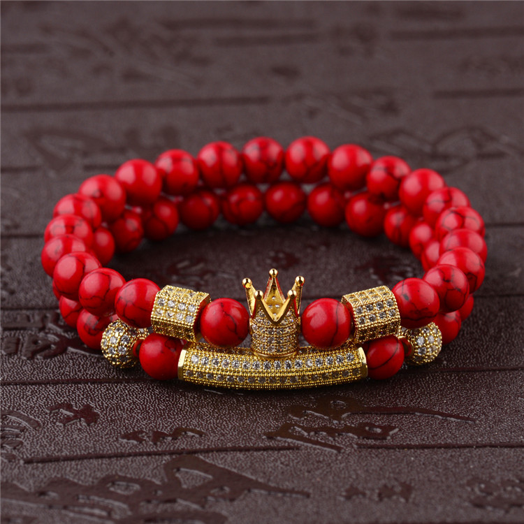 All-match Natural Red Turquoise Bracelet Crown Zircon Hand String Energy Stone Multi-colored Bracelet