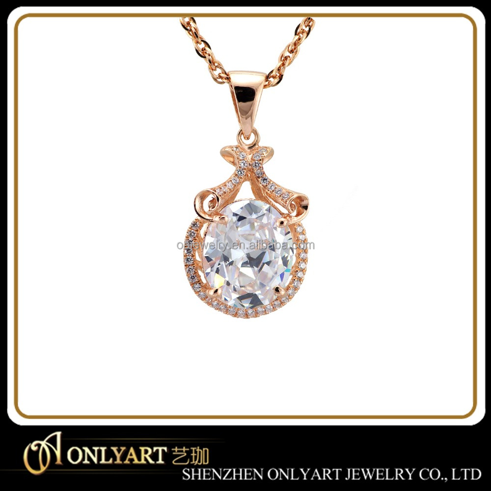 Fashionable rose gold plated sapphire inlaid pendant Paypal payment