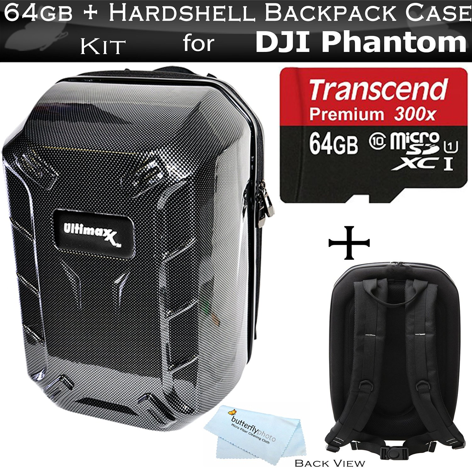 Hardshell Backpack Case for DJI Quadcopter Drones Fits with All DJI Phantom Drone Models DJI Phantom 1, Phantom 2, and Phantom 3, Phantom 3 4K Drones + 64GB High Speed Micro SD Memory Card + More