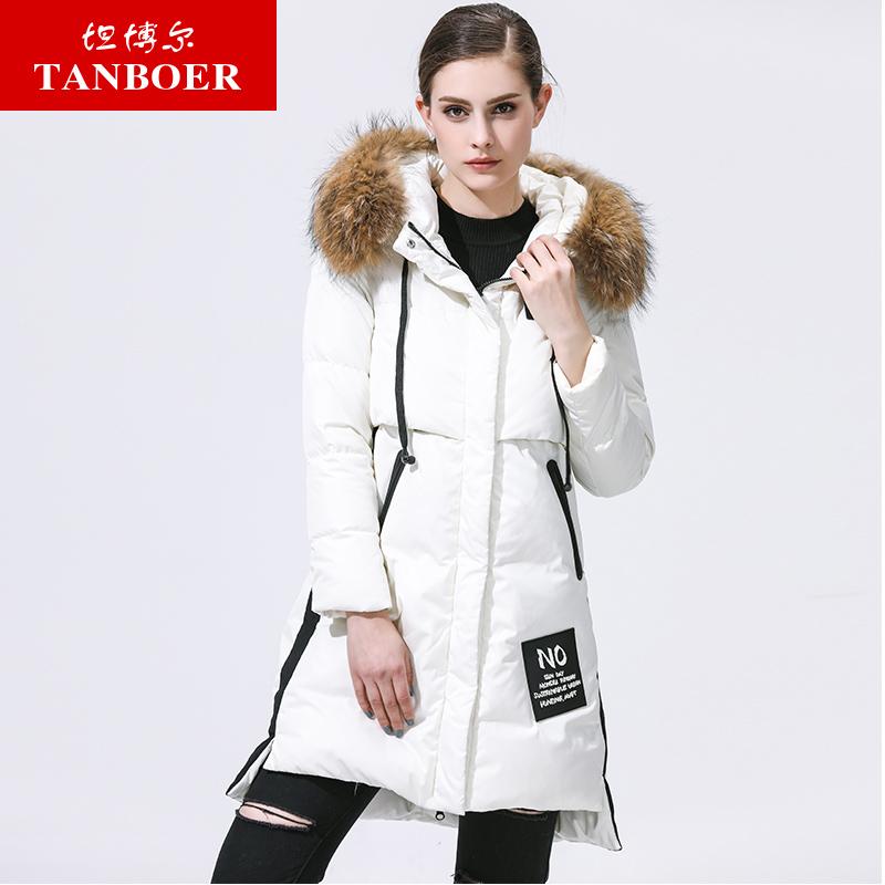 TANBOER ผู้หญิงลงเสื้อแจ็คเก็ตแฟชั่น long down coat outwear เสื้อแจ็คเก็ตแบบสบายๆหนัง hood TB3690