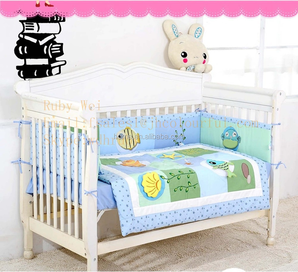 Handmade 3d Cotton Embroidery Soft Quilt Set Baby Bedding Set Crib ...