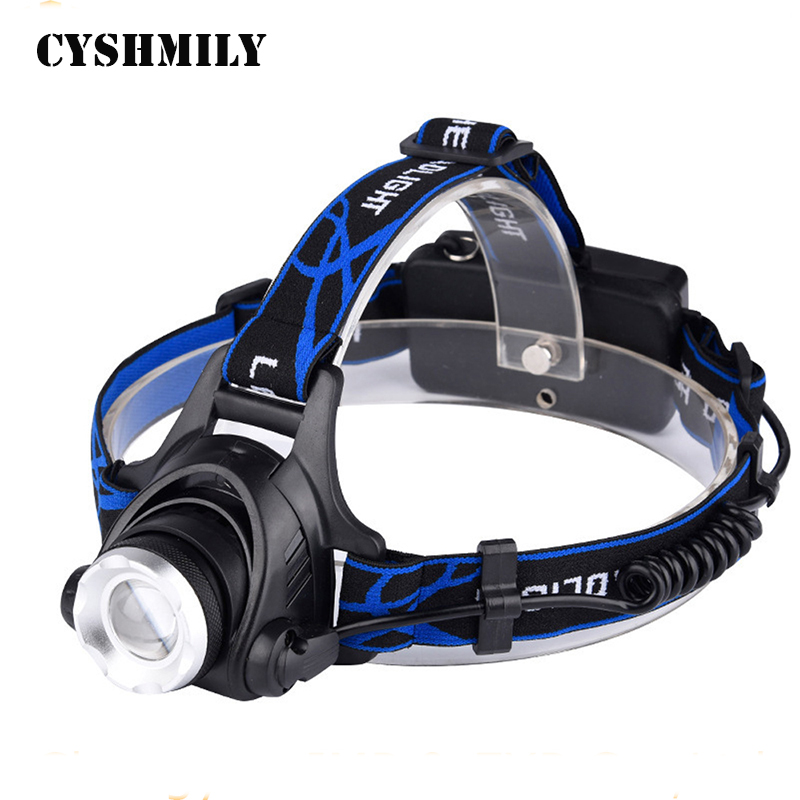 Cyshmily High Power Telescopic Zoom Led Flashlight Long-distance Torch XM-L2 Rechargeable Waterproof Headlamp