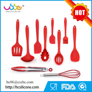 USSE brand Heat-Resistant Spatulas & Baking Spoon Strong Stainless Steel Core 10 Pieces Silicone Spatula Set