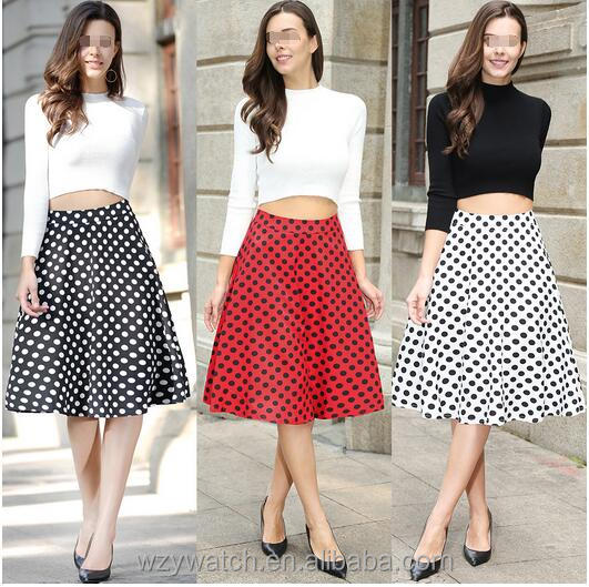 2017 new retro wave point printing high waist half skirt large size elastic a word big skirt pompry skirt