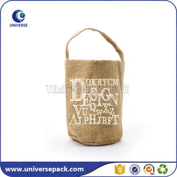 Waterproof Packaging Round Bottom Burlap Bag With Jute Handle