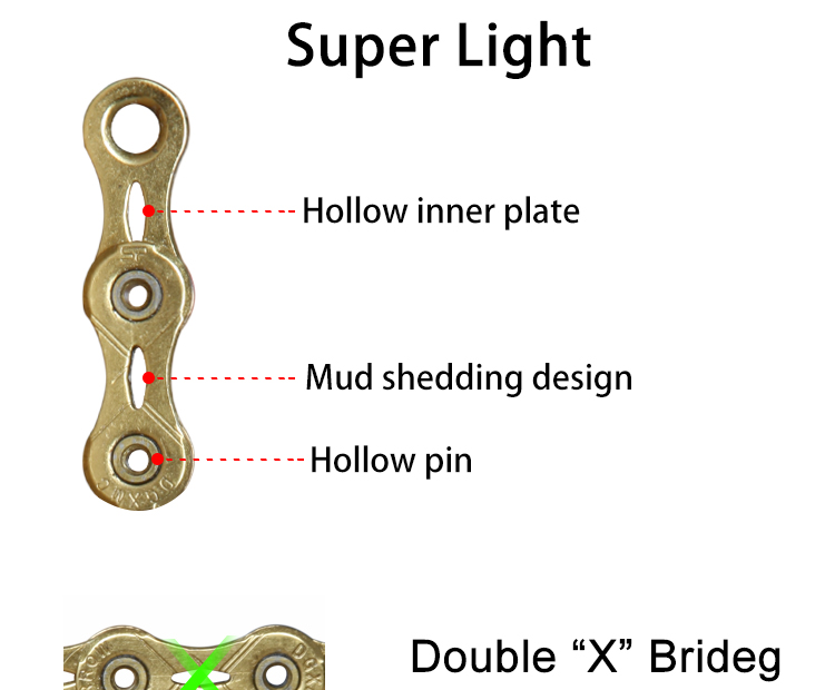 Redland bicycle parts bicycle multi-speed chain 12 speed hollow pin super light bicycle chain