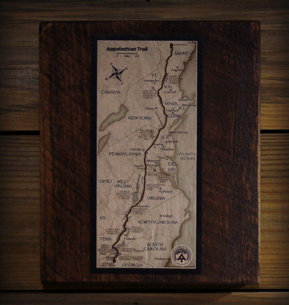 Vintage Appalachian Trail Print on Reclaimed Wood Block