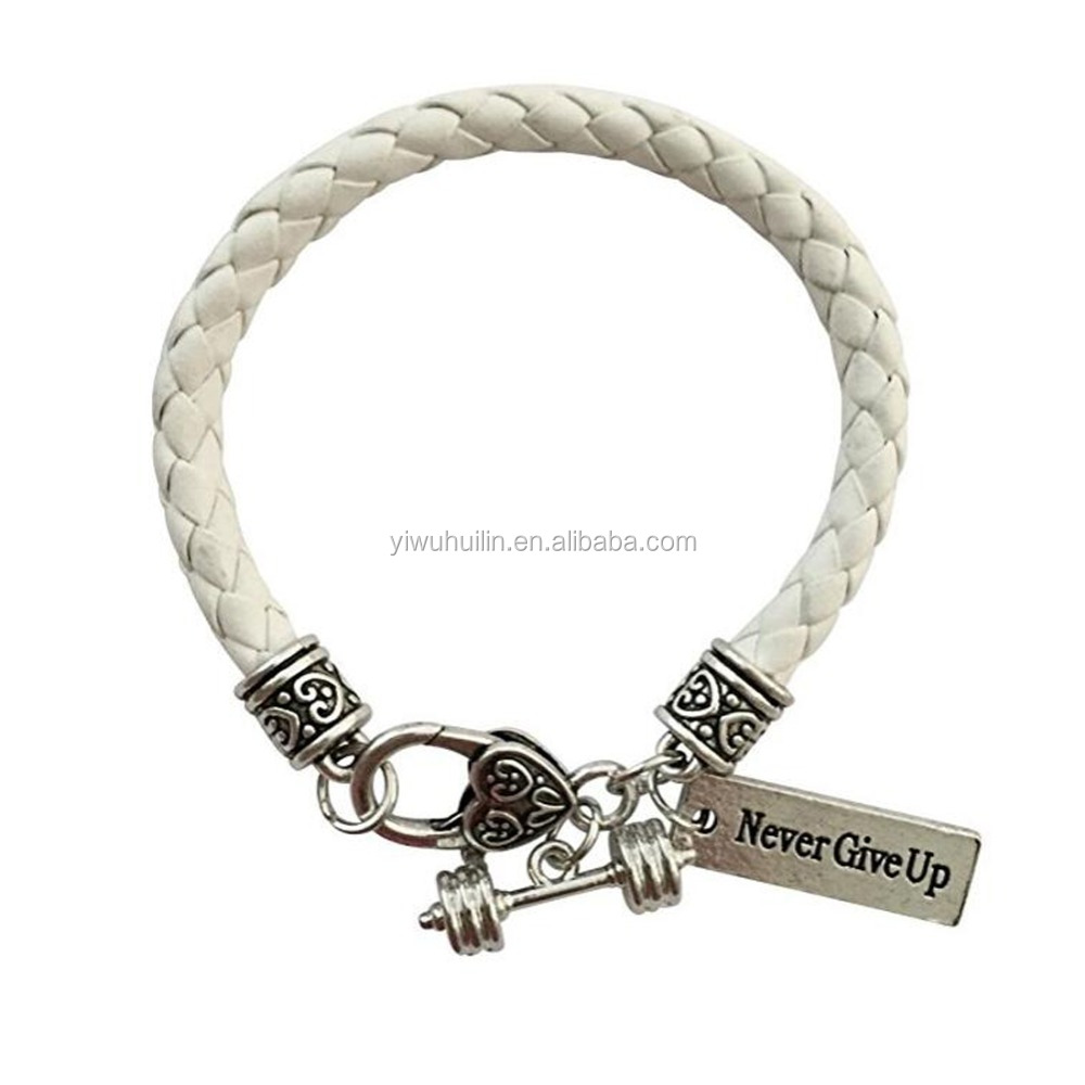 White Leather Braided Cross Fit Fitness Dumbbell Barbell Never Give Up Charm Bracelet, Antique silver