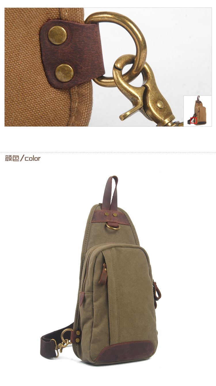 Men's canvas sling bag, shoulder bag for school
