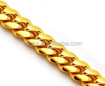 Solid 14k Yellow Gold Miami Cuban Curb Link Mens Chain Necklace, Brass Miami Chain Wholesale