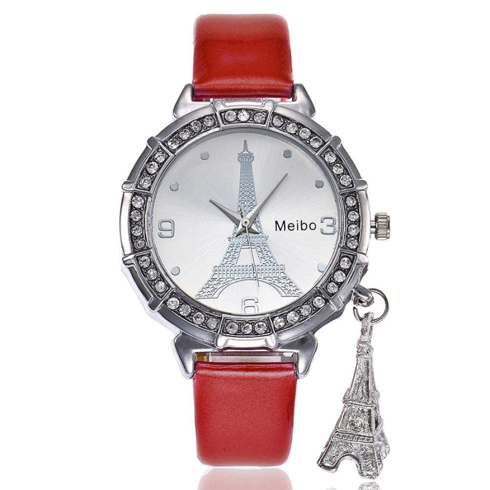 WM & MW Watches with Pendant,Fashion Women Eiffel Tower Rhinestone Quartz Watch Analog Wrist Watches
