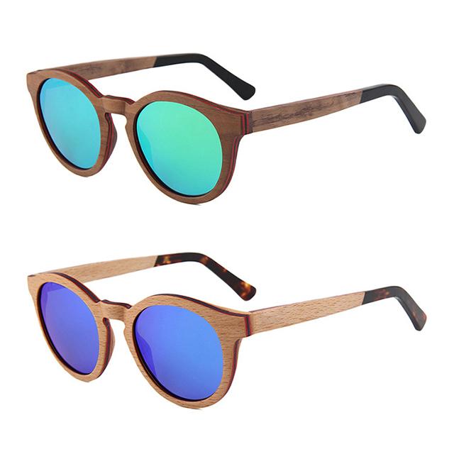 111dcc567b DLK3054 de madera gafas de sol polarizadas ronda monopatín gafas ...