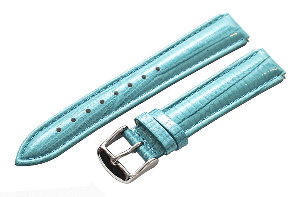 Clockwork Synergy® - 20mm x 18mm - Turquoise Lizard Grain Leather Watch Band fits Philip stein Large