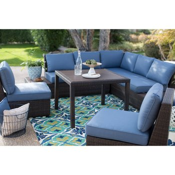 All Weather Wicker Sofa Sectional Patio Dining Set Rattan Outdoor Sofa