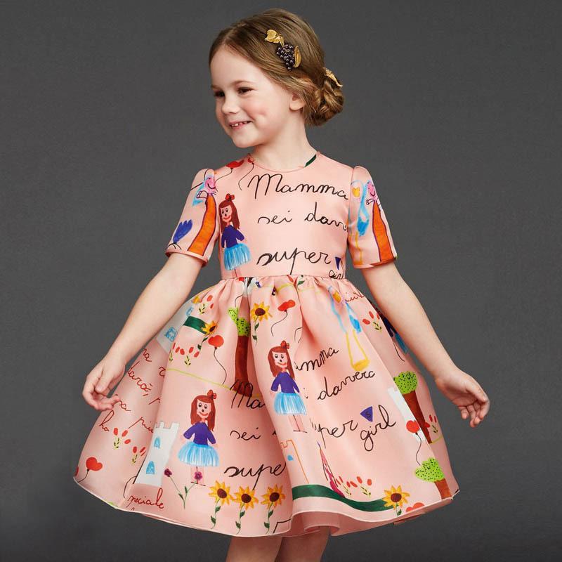 Retail 2015 girl dress High quality goods clothing Cartoon short sleeved summer autumn princess dresses