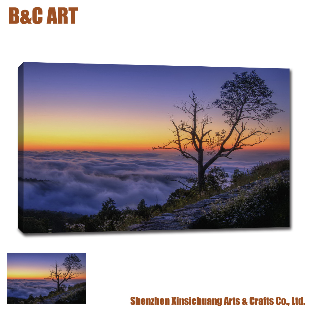 Fabulous Mountain Top Scenery Pictures Inkjet Canvas Printings for Wall Decoration