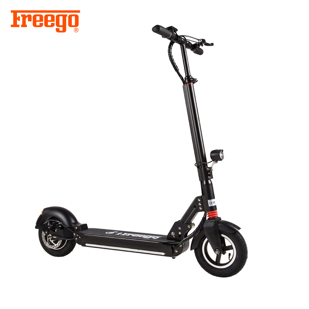 Freego adjustable Height foldable electric 2 big wheel kick scooter for adults