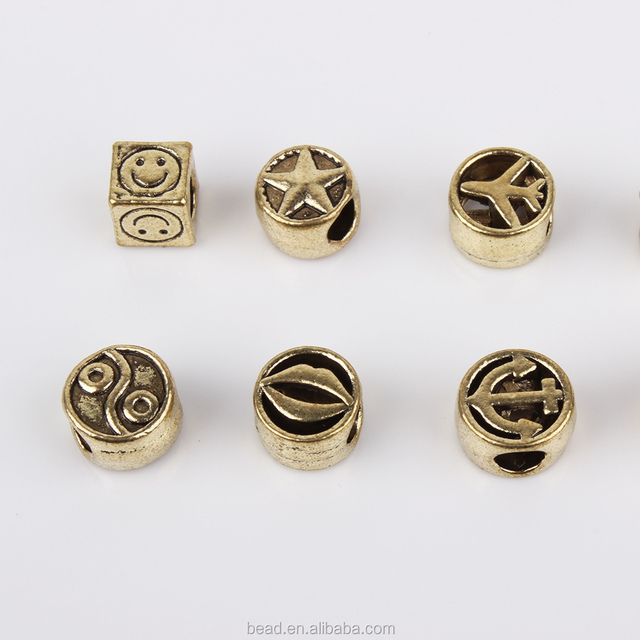 4mm Large Hole Antique Gold Beads