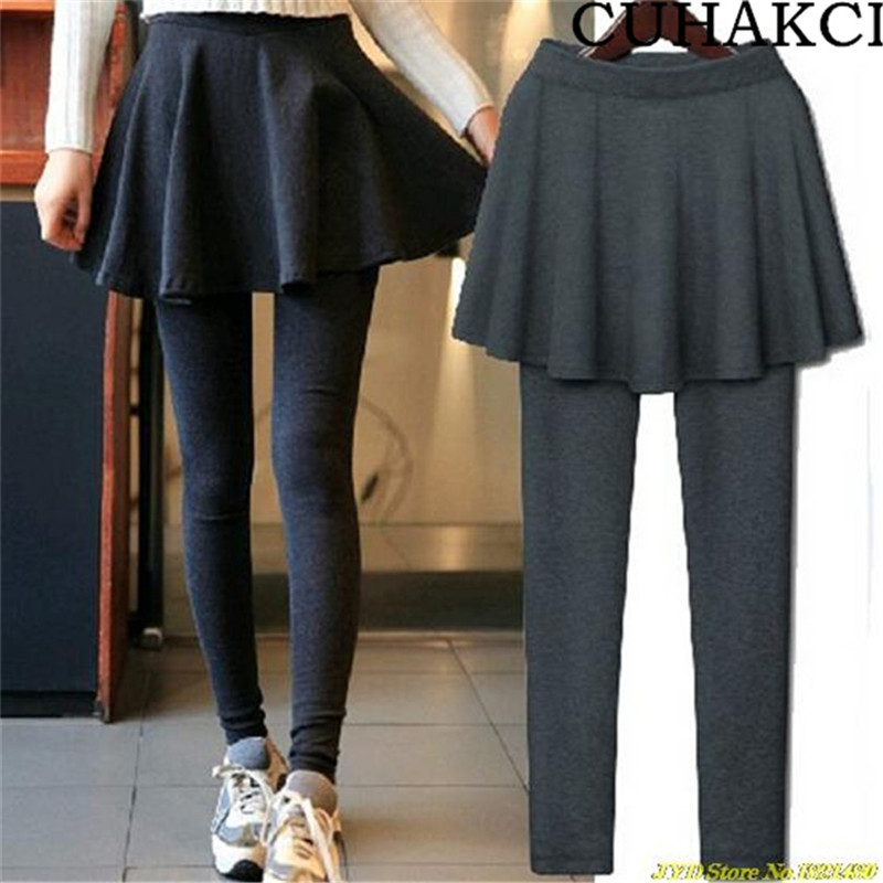 High Quality Custom Fashion Women Two-piece Pleated Leggings Sexy Slim Stretch Cotton Fabric Leggings Skirts