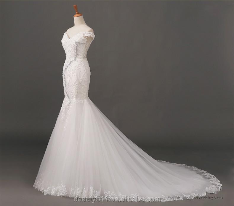 New Design Elegant Embroidered Off Shoulder Cap Sleeve Mermaid Lace Long Wedding Dress Bridal