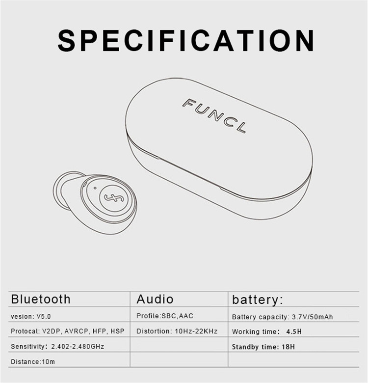 funcl w1 mini tws wireless bluetooth headphone earphones earphone headphone wireless bluetooth 5.0 earplugs qcy air pods