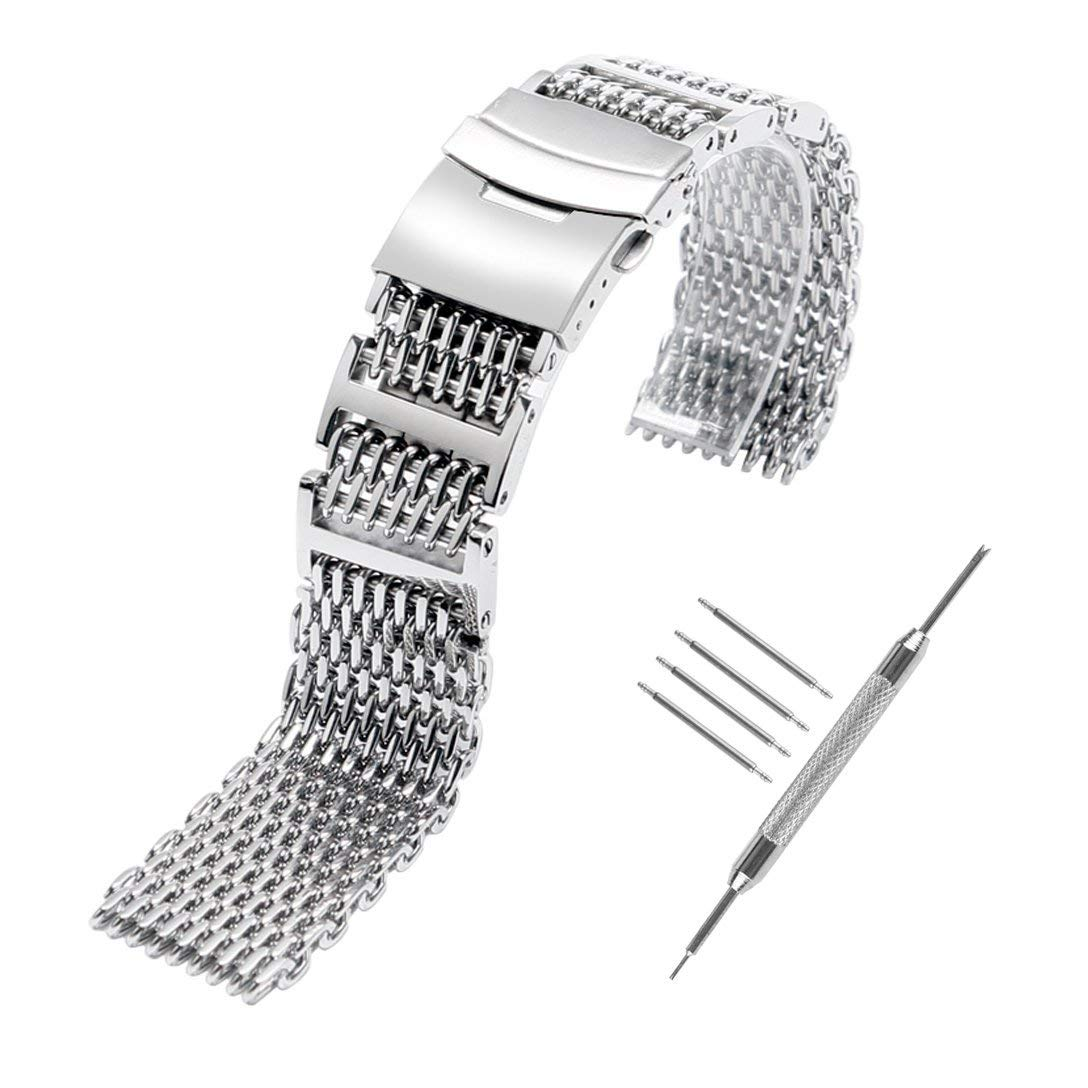 e408b7beeeb Get Quotations · YISUYA Shark MESH 22MM Full Stainless Steel Watch Band  Heavy Duty Diving Dive Watch Strap