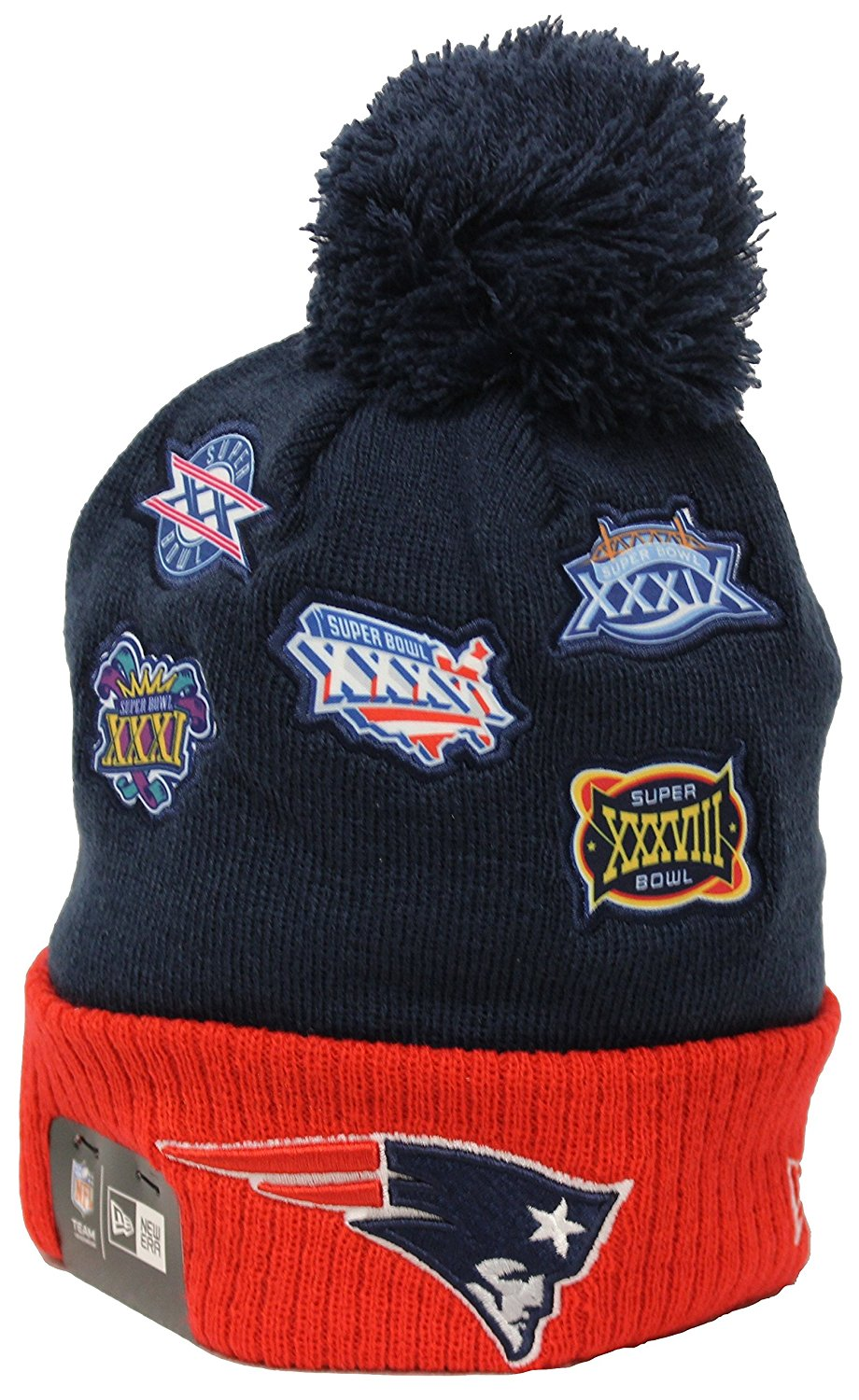 ab19010269204 Get Quotations · New Era Super Bowl Patch New England Patriots Navy Red Pom  Beanie