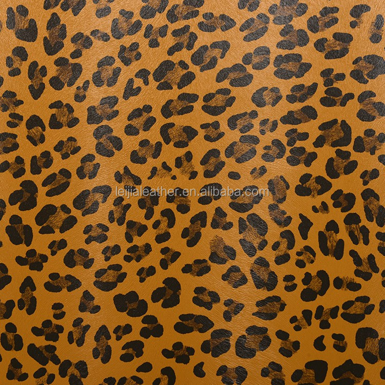 printed pattern leopard skin pvc faux leather for lady bags shoes materials