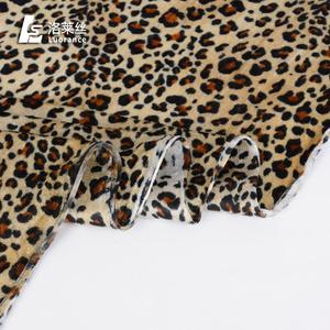 Low price soft stretch leopard silk german velvet fabric in stock