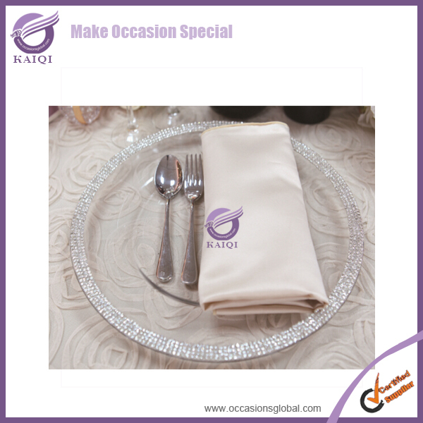 PZ21060 clear glass new wedding decorative silver rhinstone crystal charger plates