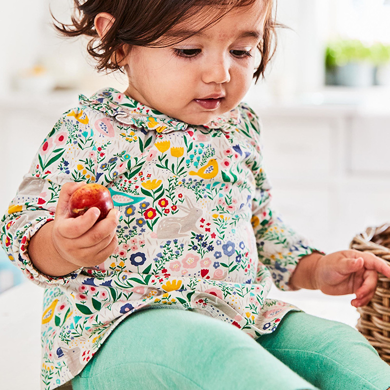 Promotional Autumn baby clothing set floral tees+pants 2 piece set baby girl clothing set
