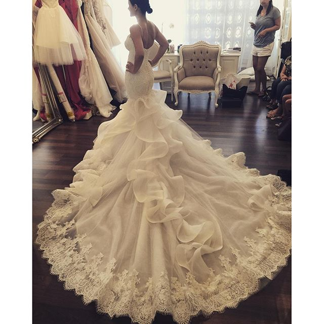 French Lace Mermaid Wedding Dress: AnnBridal YWD403 French Lace Ruffles Cathedral/Royal Train