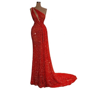 Sequin Lace Fabric Evening Dress Women One Shoulder Red Shinny Party Gown Sexy Long Prom Dresses 2019 New Products