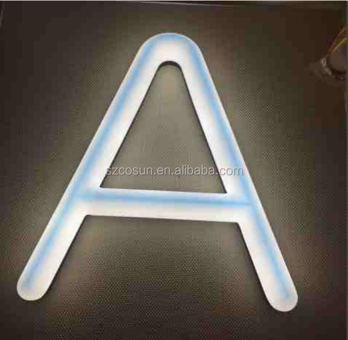 Illuminated outdoor Lighted-channel letters battery powered neon word signage