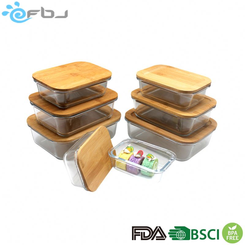 Fashionable Rectangular Glass Container Sets with Bamboo Lids