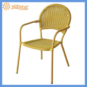 Round Back Aluminium Frame Wicker Side Chair L81602