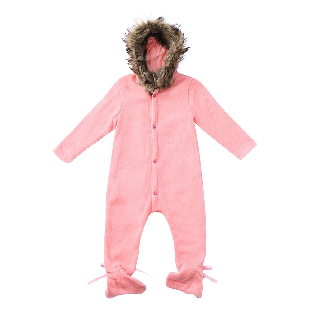 Ropa de invierno para bebés ropa de invierno recién nacido Niño niña punto  suéter mono mapache piel con capucha Niño niño ropa exterior 69312c120ca8