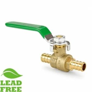 "Push To Connect Ball Valves 1/2"" PEX Brass Ball Valve, Full Port (Lead-Free)"