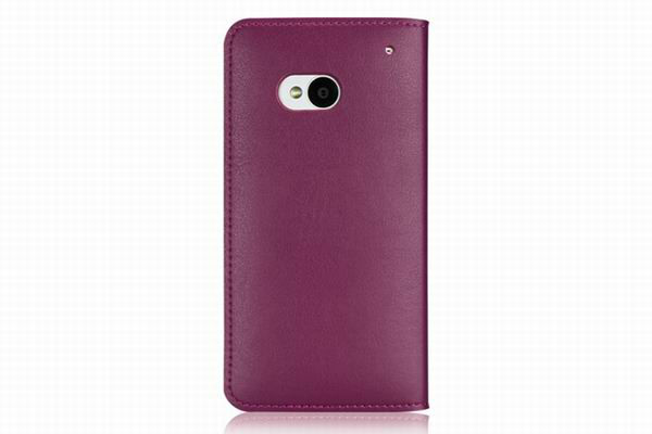 New Snap-on Thin Side Flip Synthetic Leather Cover Case for Verizon HTC One M7 (Purple)