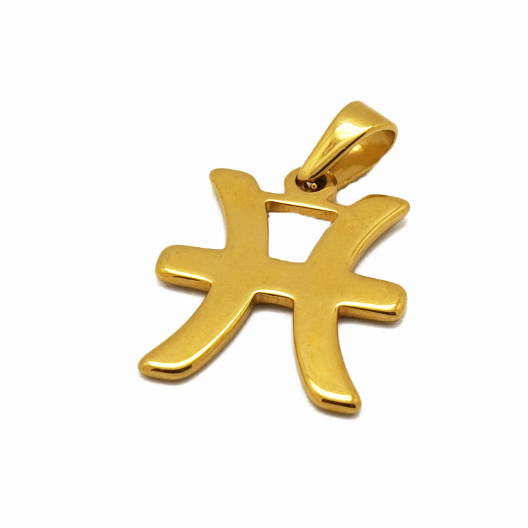 Wholesale Chinese Zodiac Signs Pendant Charm 18kt Gold Stainless Steel Zodiac Necklace Pendant